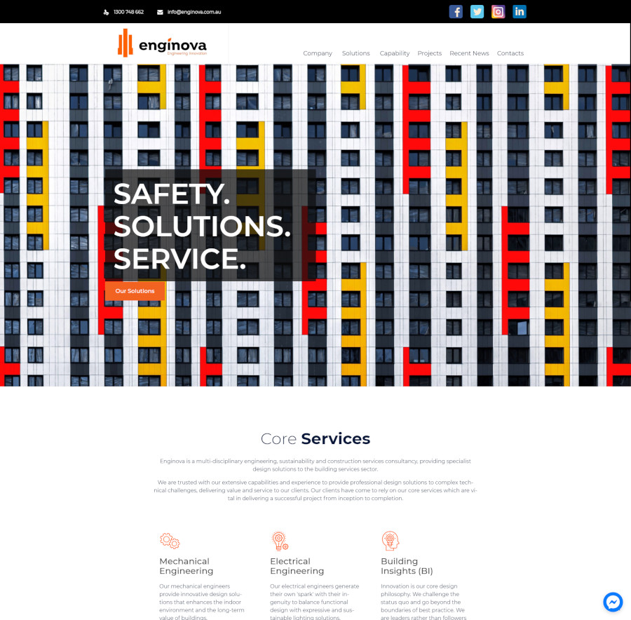Enginova website design WordPress